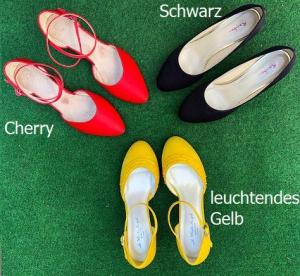 Färberei Holtmann Wittingen - Schuhe färben - Schwarz-Cherry-Gelb